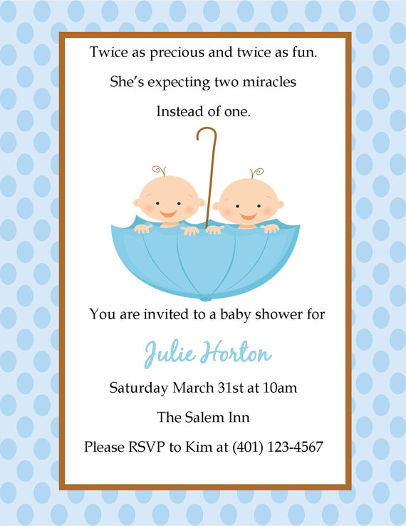 Charming Twin Baby Shower Invitation
