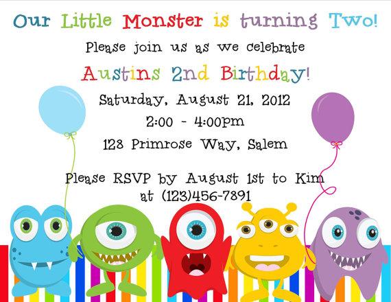 Little Monster Birthday Invitation Printable File